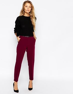 I like the burgundy pants! No, I LOVE the burgundy pants. Saw the same kind of pants paired with a black and white polka dot shirt... with big polka dots... really cute!