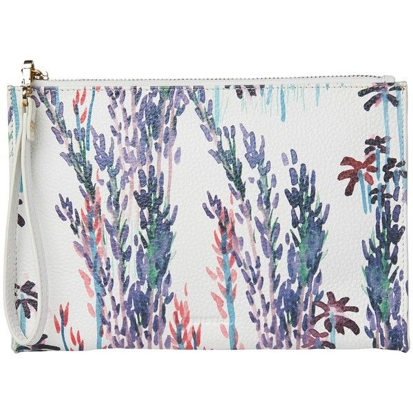 Whistles Fleur Printed Wristlet, Blue/Multi ($97) ❤ liked on Polyvore featuring bags, handbags, clutches, floral wristlet, hand bags, handbag purse, blue purse and blue leather purse