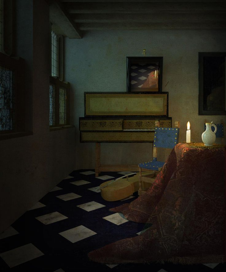 filippofanciotti.com  The Vermeer's Music Lesson deconstruction: second lighting variation: candlelight  FF  november 2017  modeled with Rhino, rendered with V-ray for Rhino, post-production  in Photoshop  1230 x 1465 pixels  LAPIS