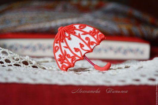 Броши ручной работы. Ярмарка Мастеров - ручная работа. Купить Кружевной зонтик (брошь). Handmade. Ярко-красный, брошь- зонтик