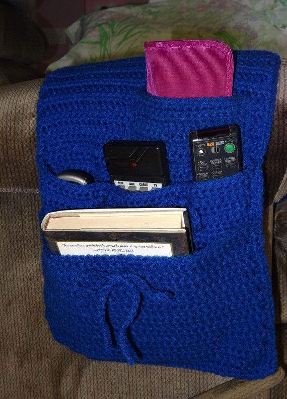 Organizer Caddy for Arm Chair or Recliner, Royal Blue, Adjustable Pockets to Hold Cell Phone, Remotes, Eyeglass Holder, just the right color for Kentucky Wildcat fans--now with 3 pockets, $12.99 -- This has been sold but I can make another for you in your choice of color.