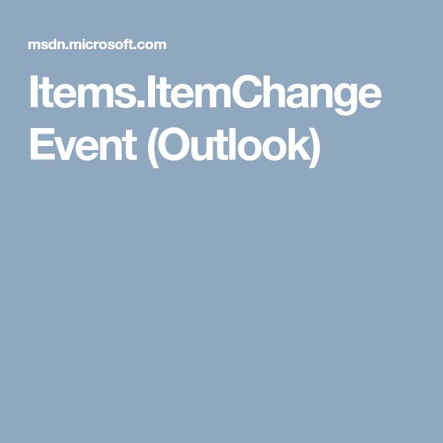 Items.ItemChange Event (Outlook)