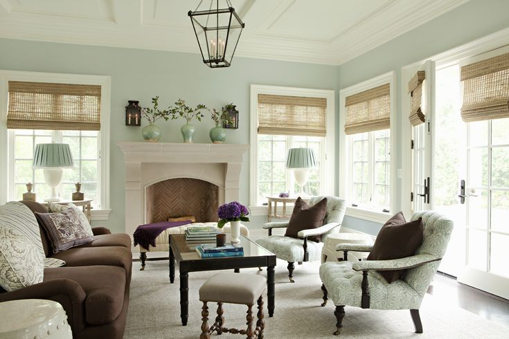 Living room light aqua walls with brown leann thornton - Brown and aqua living room pictures ...