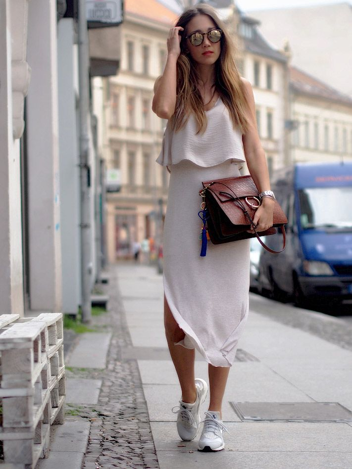 sneakers, Nike Huarache, dress, how to wear, summer ...