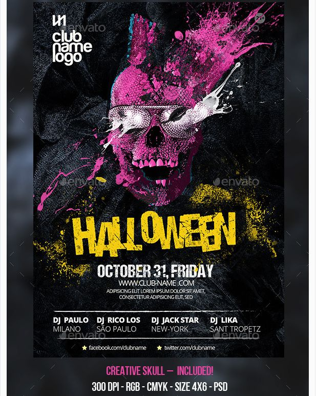 Halloween Party Flyer Template - Party Flyer Templates For Clubs - party flyer