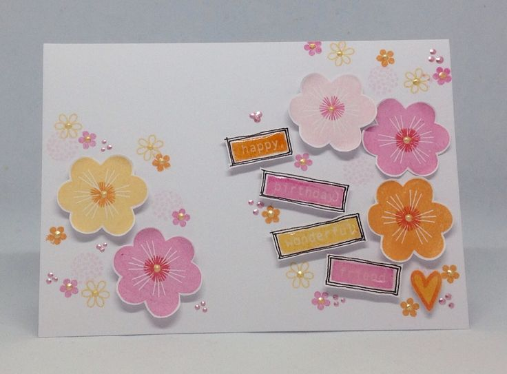 Created with Daisy, Ditsy and Dotty Stamp set by Julie Hickey www.craftworkcards.com