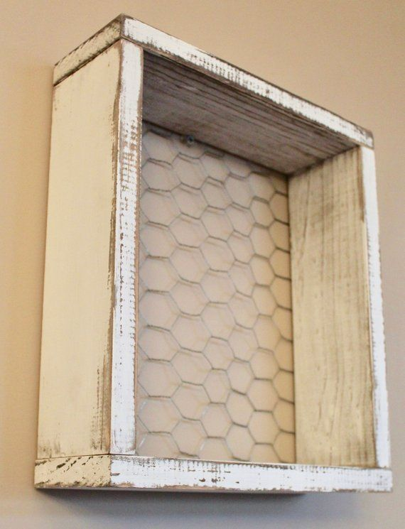 Wooden Box With Chicken Wire Farm Shelves Wall Decoration Of In 2020 Shadow Box Shelves Wooden Boxes Gallery Wall Decor