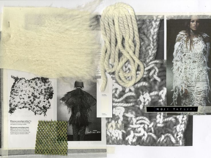 Craft Research page for knit experimentation. Special Machinery Tanaka processed yarn.  Sampling pieces and inspiration images