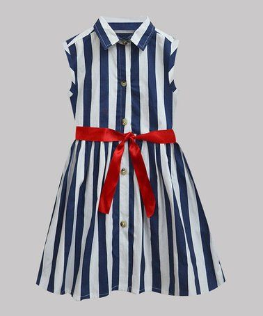 7419fc9ef136 Another great find on #zulily! Navy & White Stripe Shirt Dress - Infant,  Toddler & Girls #zulilyfinds