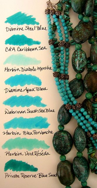 Turquoise Fountain Pen Ink Meets Beaded Jewelry by inkophile, via Flickr