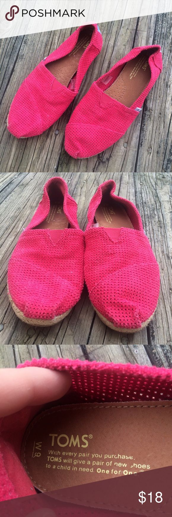 Pink TOMS Size 9 Cute pair of Toms flats, size 9. Hot pink color. Been worn but are in good condition! TOMS Shoes Flats & Loafers