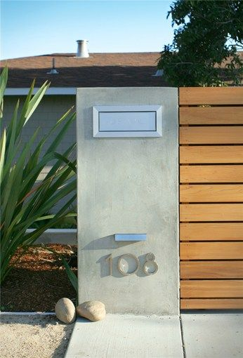 Entry Fence With Address Modern Landscaping Shades of Green Landscape Architecture Sausalito, CA