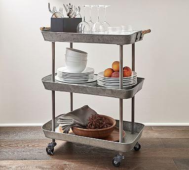 Rainier Galvanized Storage Cart: Coffee, bar, bathroom, endless options. #mypotterybarn
