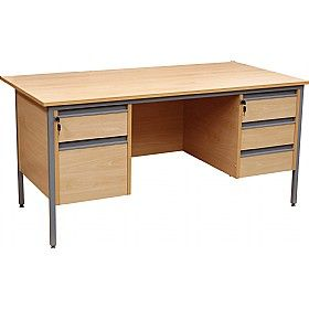 #OfficeDesks - NEXT DAY Nova Contract H-Leg Rectangular Desk With Double Fixed Pedestals offer good storage solution and hence help the desks to keep clean. With its 2 and 3 drawer fixed pedestals (which can be fixed to the left or right of the desk as ordered) the desk is readily available in 2 sizes.