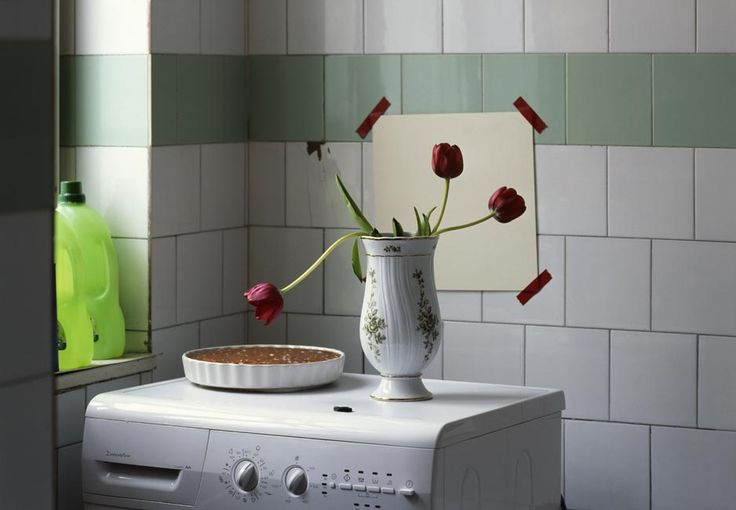 Three tulips and a cake in the bathroom, 2009, Budapest by Peter Puklus