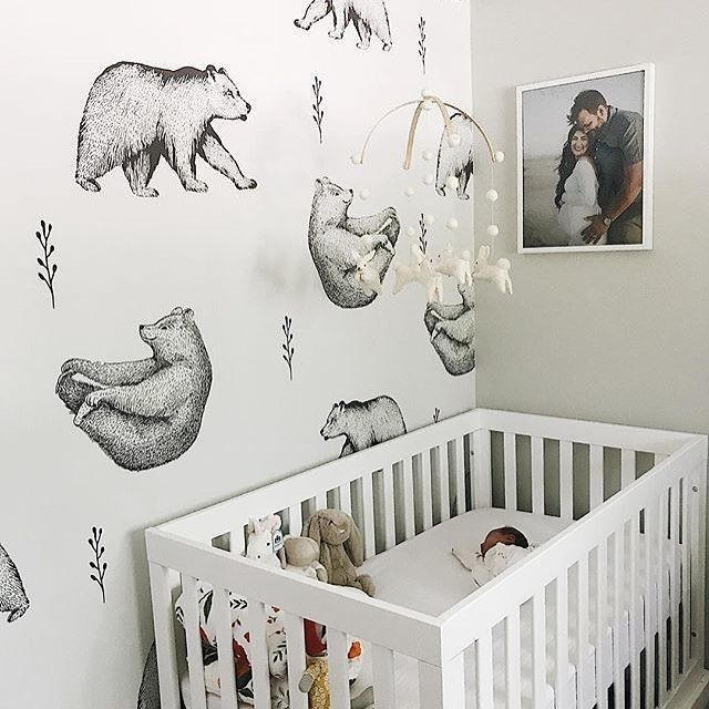 Where Woodland Meets Modern This Bear Wallpaper Is Making Our