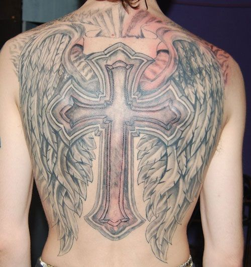 wing and cross back tattoo, love the whole desgin but prefur it on a smaller scale and also in better brighter color is possible.