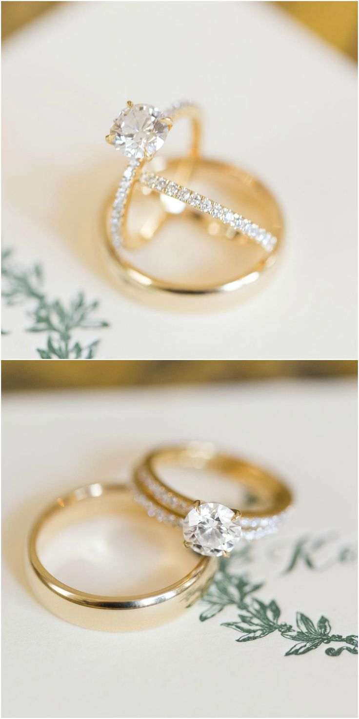 Diamonds, gold engagement ring, pave band, hunter green monogram // C. Tyler Corvin Studio