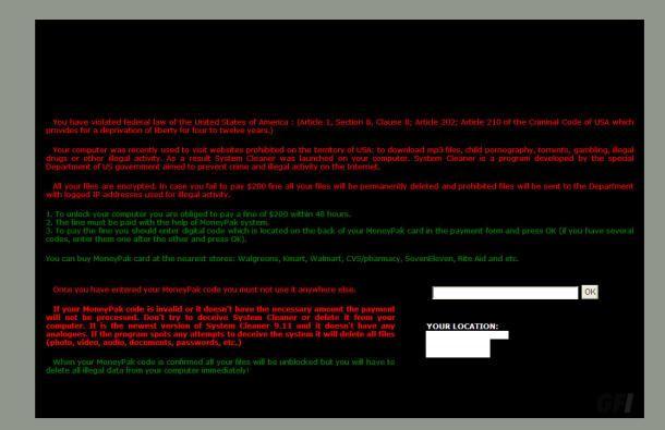 La schermata di ricatto del virus Troj/Agent-YCW o Troj/Agent-YDC che si diffonde tramite Skype