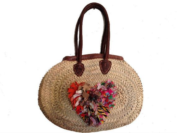 Oval Straw bag , Bohemian Straw Bag , Capazo , French market bag, heart bag