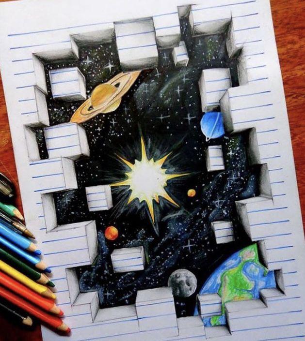 فن ابداع فضاء رسم كواكب Art Drawings Art 3d Art