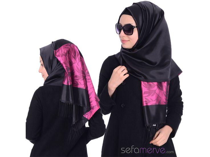 Sedef Golden Plus Şal 18 Siyah Fuşya #sefamerve #tesetturgiyim #tesettur #hijab #tesettür