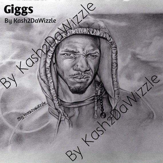 Giggs #drawing in black & white #UK #art #artist #london #grime #giggs #etsyfind #MC #UKRap #music #portrait UK Music