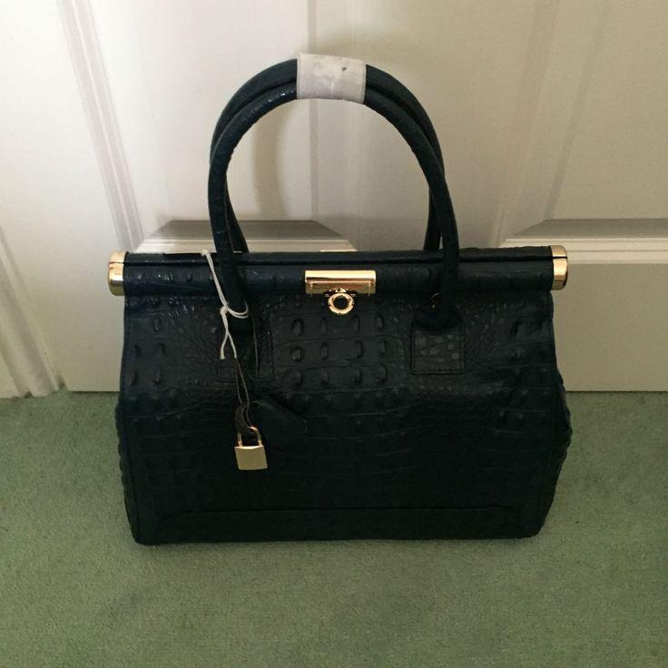Handbag Italian Leather in Navy