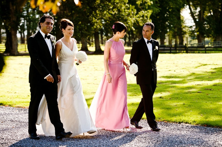 Bridal Party walking the grounds of Tankardstown House at a Summer Wedding (Photo credit Larry Mc Mahon Photography)