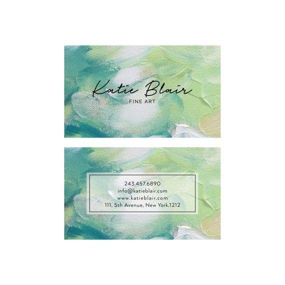 Business Card Design - Artist Card Design - Painter Green Acrylic Paint Business Card - Premade Business Card - Printable Calling Card