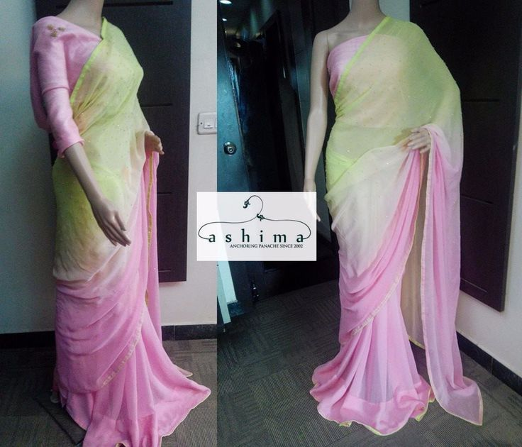 Code: 1009175:PRICE INR:10800/-, Peach and pistachio green pure Georgette saree with scattered cutdana and bead all over with shaded innear