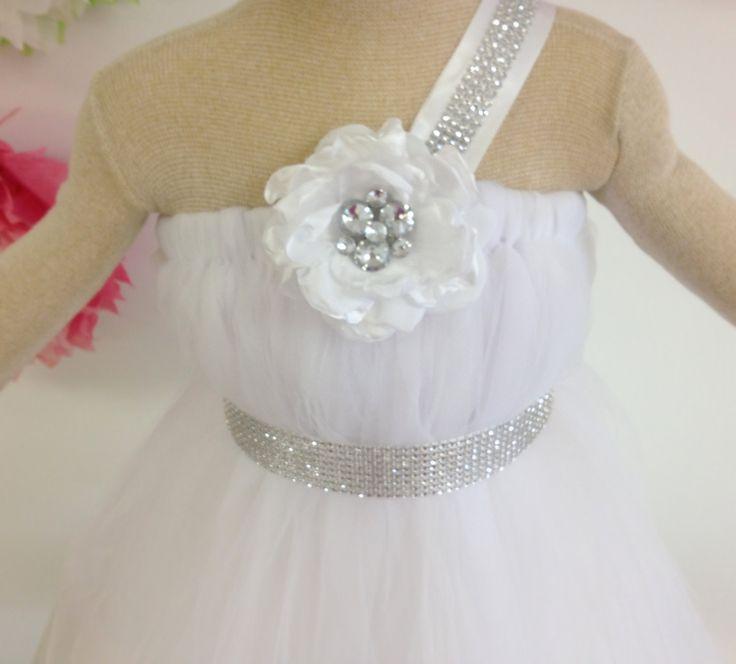 BLING it On, Baby - Flower Girl Dress- Tutu dress for Weddings, Pageants, Birthday. White Wedding dress, Bling sash & strap, flower accent. $80.00, via Etsy.