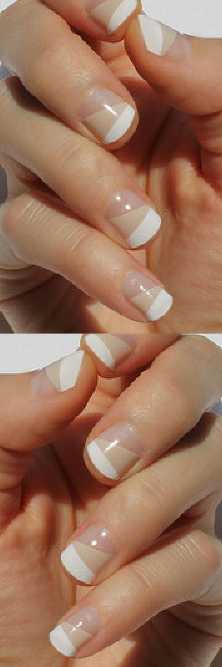 White & Nude Ava Nail Wraps. Just heat, stick & file your way to awesome nails!   So Gloss  Transparent Nail Wraps can be worn on your bare nail or layered over  your favorite polish, the possibilities are endless! The design is  opaque, the rest of the wrap is crystal clear. #nailart #ad #naildesigns #springnails