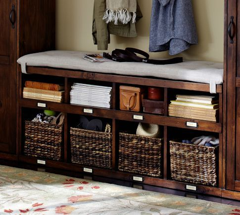 OLIVIA BENCH - TUSCAN CHESTNUT STAIN: Entry Benches, Olivia Benches, Potterybarn, Chestnut Stains, Organizations, Tuscan Chestnut, Cubbies, Pottery Barns, Storage Benches