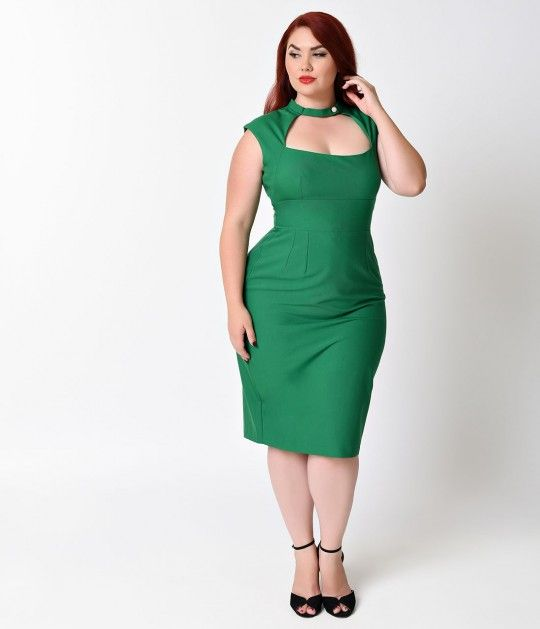 Prepare for triple-takes, gals! A rich green plus size retro dress in a timeless tailored 1960s wiggle cut, Katherine is a vintage dress destined to be a knockout! Padded cap sleeves meet a cutout button neckline, darted and empire seamed for a fabulously