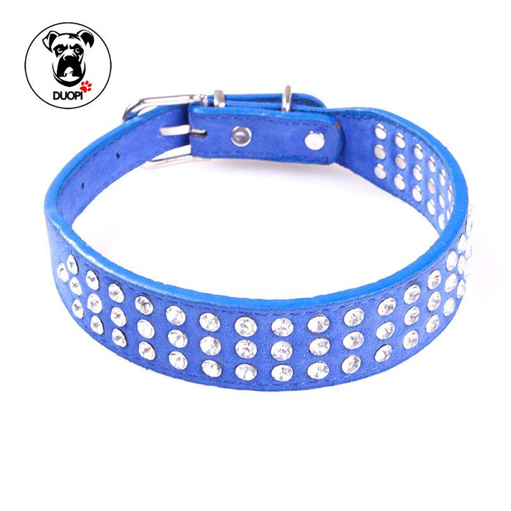 Freeshipping 3 Rows Bling Rhinestone Puppy Dog Collar 4 Color Perros PU Leather Necklace For Chihuahua Small to Medium Dogs