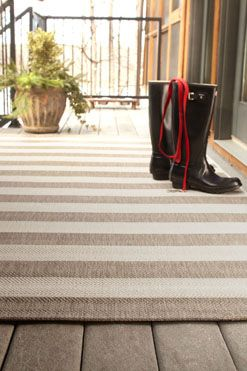 Finesse Stripe Rug in Barley is an indoor/outdoor rug that is perfect for any front door porch! #CapelRugs