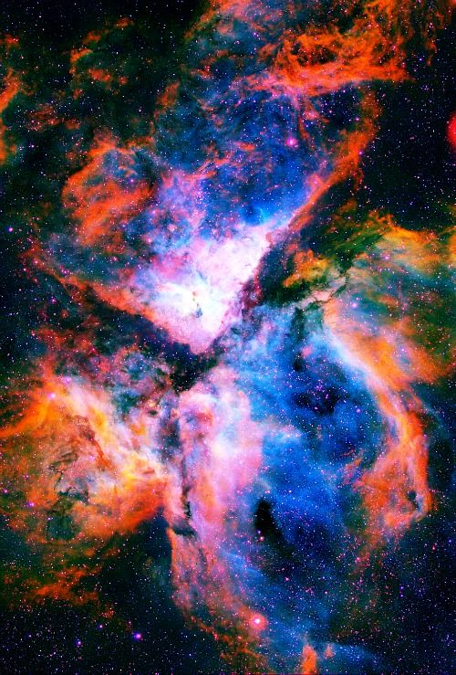 The Carina Nebula (NGC 3324) is a 3-light-year tall pillar of gas and dust surrounding several clusters of stars. Eta Carina & HD 93129A, two of the most massive & luminous stars in the Milky Way, are among them. About 10,000 ly away, it is one of the largest nebulae ever seen (larger & brighter than the Orion nebula) the top is a 3-ly-tall pillar of cool hydrogen being worn away by the radiation of nearby stars. Carina Constellation
