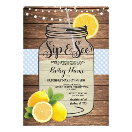 Sip and See Baby Shower Wood Rustic Blue Invite - invitations custom unique diy personalize occasions