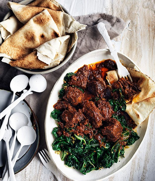 Berbere beef stew and spiced silverbeet recipe | Gourmet Traveller recipe - Gourmet Traveller