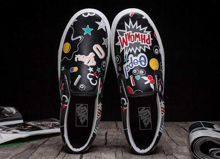 Vans Cute Cartoon Graffiti Black Leather Slip On Skate Shoes