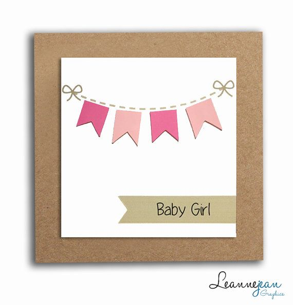 Handmade New Baby Card Pink Bunting A by LeannejeanGraphics