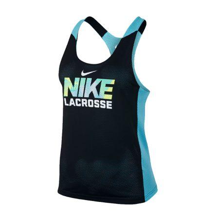 #LacrosseUnlimited Nike Lacrosse Women's Reversible Mesh Tank in Blue/Black. #pinnie #tank #lacrosse #alwaysCustom