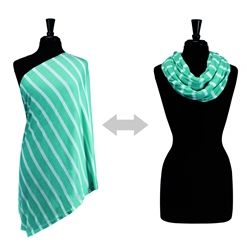 Itzy Ritzy #Nursing Happens Infinity #Breastfeeding Scarf - Seaside Stripe Turquoise. Say goodbye to the old, apron-style nursing cover. #Itzy Ritzy