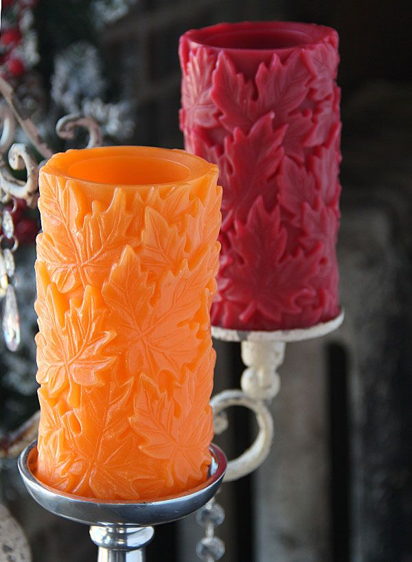 Inch carved red wax maple leaf design from candle
