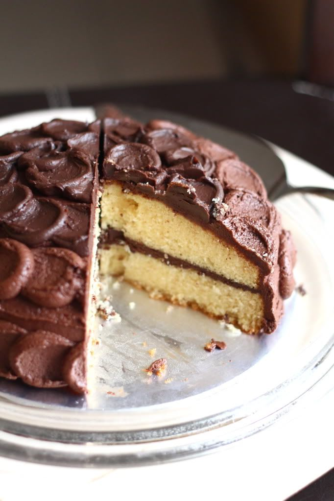 Crumbs and Cookies.: yellow butter cake with rich chocolate frosting.