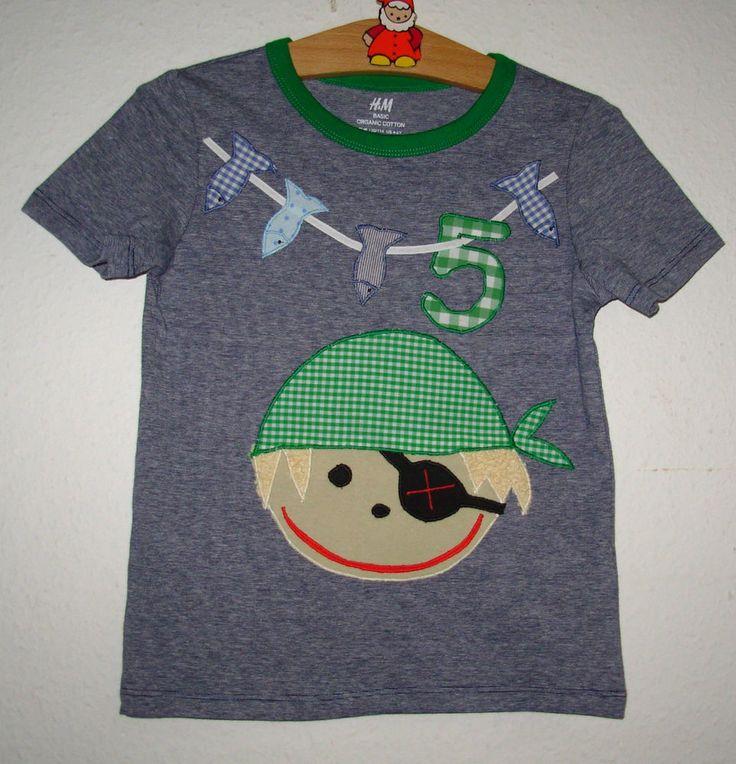 Unikat: Einzigartiges Geburtstags-Shirt m. Applikation *PIRAT*,Bio, Gr.110/116