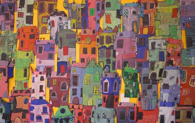 Castle Street, via Flickr. Castle Street We looked at the Scottish artist George Birrell for inspiration for these coloured castles. Wonderful Flicker collection of inspiration from school display boards.