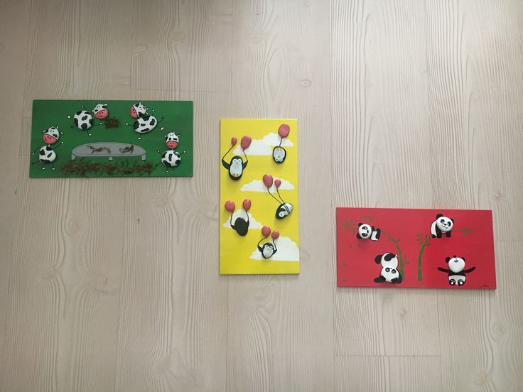 series of playing animals stone painting
