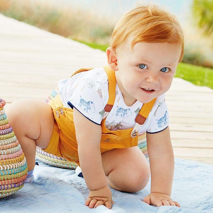 #Conjunto peto amarillo de #niño bebé , de la marca #Mayoral
